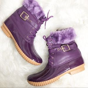Winter rain  purple faux fur boots 8 1/2
